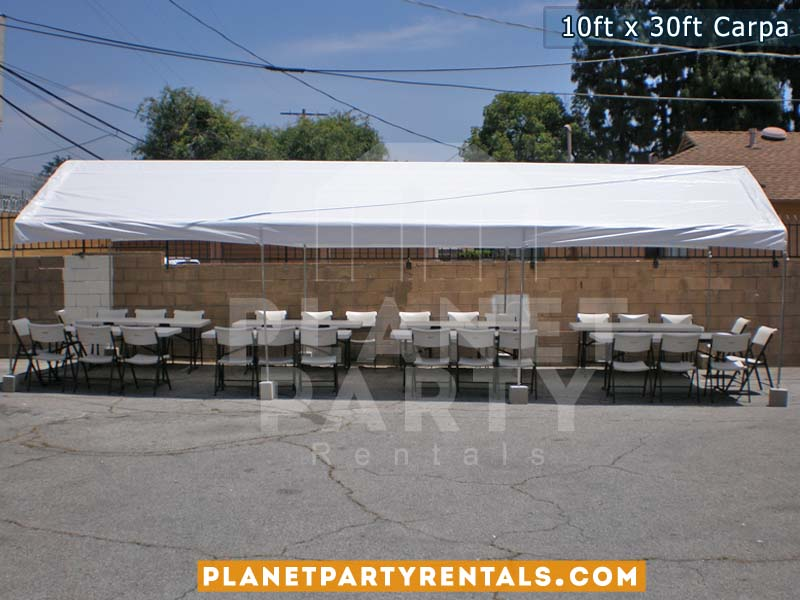 10ft x 30ft carpa con sillas y mesas rectangulares para bodas | Van Nuys Panorama City Reseda North Hollywood