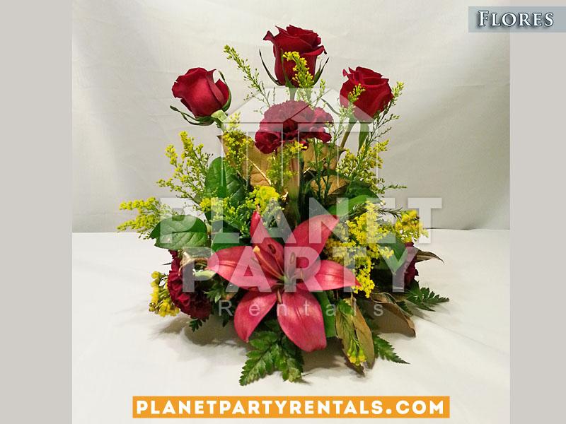 Arreglo de rosas rojas para bodas xv anos eventos