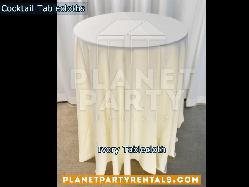 Mantel Redondo para Mesa de Cocktail Color Ivory