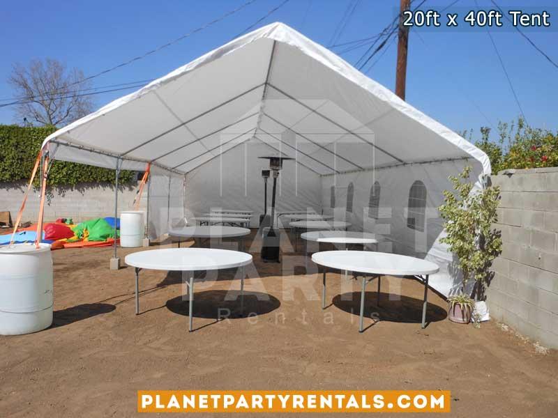 Renta de Carpa tamaño 20x40, con sillas mesas redondas, sillas de plastico y calentones