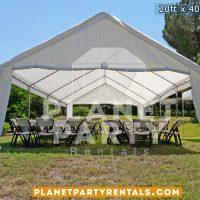 20x40 Capra disponible con sillas y mesas rectangulares, renta para fiestas