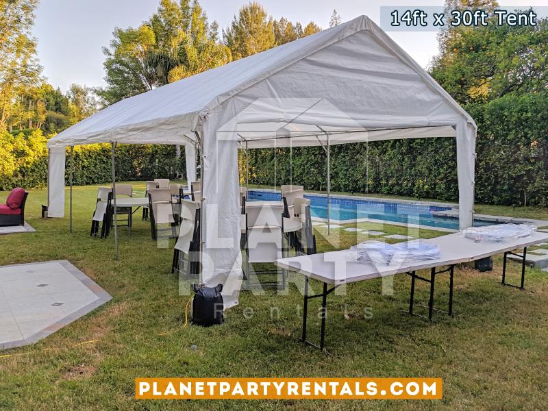 Carpa Blanca para fiestas y eventos, renta de sillas y mesas rectangulares